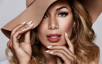 Leona Lewis, 4k, portrait, British singer, brown hat, make-up, beautiful woman