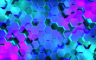 4k, hexagons, abstract art, grid, geometric shapes, blue background, grid pattern