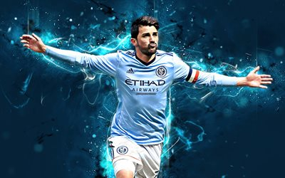 David Villa, spanish footballers, goal, New York City FC, Villa, soccer, MLS, LA Galaxy, neon lights, football stars