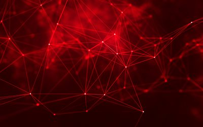 4k, creative art, red background, lines, geometry, abstraction, social network