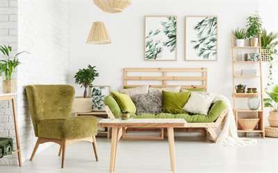 stylish light interior, living room, green sofa, green color in the interior