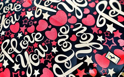 pink hearts on a black background, hearts cars stickers, love concepts, romantic background, pink hearts
