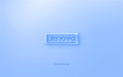 Lenovo 3D logo, Blue background, Blue Lenovo jelly logo, Lenovo emblem, creative 3D art, Lenovo