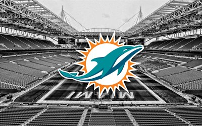 Miami Dolphins, Hard Rock Stadium, American football team, Miami Dolphins logo, emblem, Miami Dolphins Stadium, American football stadium, NFL, American football, Miami, Florida, USA