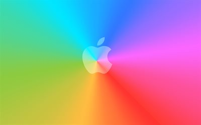Logotipo de Apple, el arco iris de fondo, Apple, mínimo, creativo, Apple logotipo en blanco, ilustración
