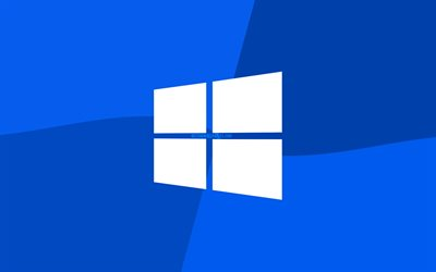 Windows 10 logo azul, 4k, logotipo de Microsoft, mínimo, OS, fondo azul, creativo, Windows 10, obras de arte, Windows 10 logotipo