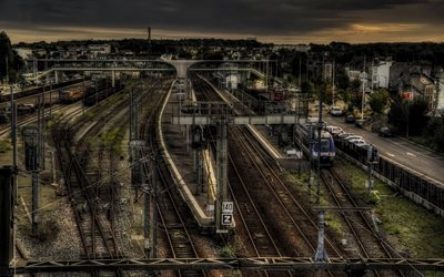 Morlaix, evening, sunset, railway station, railway path, HDR, Brittany, France