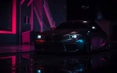 4k, BMW M2, F87, tuning, 2019 cars, night, german cars, BMW F87, black bmw m2, BMW
