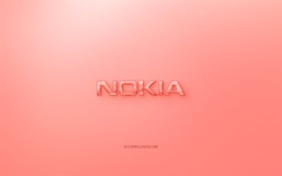 Nokia 3D logo, red background, Red Nokia jelly logo, Nokia emblem, creative 3D art, Nokia