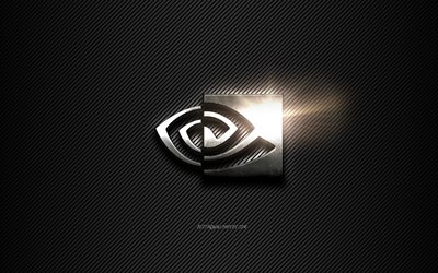 Nvidia Metal logo, black lines background, black carbon background, Nvidia logo, emblem, metal art, Nvidia
