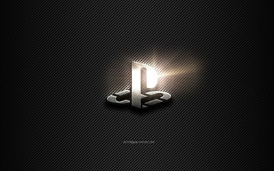 PS4 Metal logo, black lines background, black carbon background, PS4 logo, emblem, metal art, PS4, PlayStation