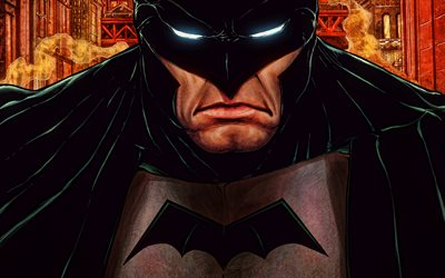 Batman, 4k, cartoon art, superheroes, artwork, Bat-man, Cartoon Batman