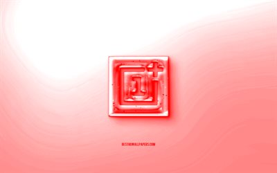 OnePlus 3D logo, Red wave background, Red OnePlus jelly logo, OnePlus emblem, creative 3D art, OnePlus