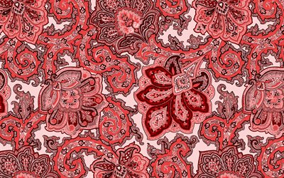Red ornament texture, Floral red ornament, texture with floral patterns, retro floral texture, floral red background, Red retro floral background