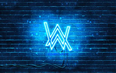 Alan Walker blue logo, 4k, superstar, blu, muro di mattoni, Alan Walker logo, Olav Alan Walker, Alan Walker neon logo, star della musica, Alan Walker