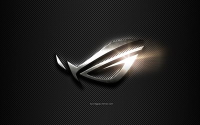 ROG Metal logo, black lines background, black carbon background, ROG logo, emblem, metal art, ROG, Republic Of Gamers, ASUS