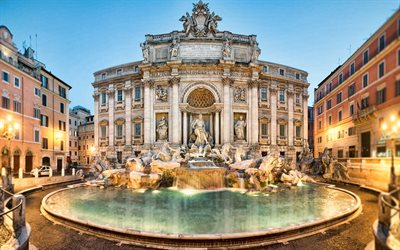 Rome, Trevi Fountain, morning, sunrise, beautiful fountain, Rome landmark, Italy