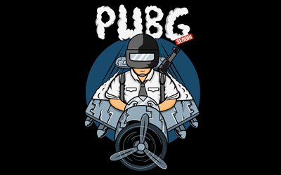 Pubg, 4k, minimal, black background, 2019 games, fan art, Cartoon Pubg Logo, Pubg minimalism