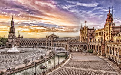 Seville, Spain Square, Plaza de Espana, evening, sunset, fountain, Seville landmark, Spain