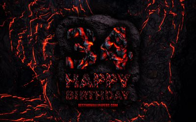 4k, Happy 34 Years Birthday, fire lava letters, Happy 34th birthday, grunge background, 34th Birthday Party, Grunge Happy 34th birthday, Birthday concept, Birthday Party, 34th Birthday