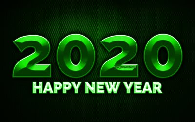 2020 green 3D digits, 4k, green metal grid background, Happy New Year 2020, 2020 metal art, 2020 concepts, green metal digits, 2020 on green background, 2020 year digits