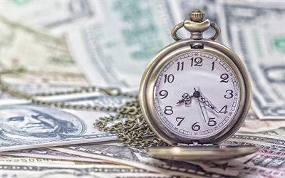 Time is money, old pocket watch on money, american dollars, money concepts, finance, business