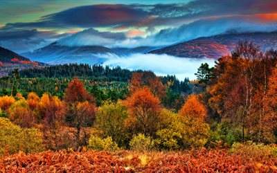 Trossachs National Park, 4k, autumn, HDR, beautiful nature, Scotland, Great Britain, mountains