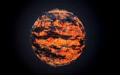 fire planet, 4k, 3D planet, lava planet, galaxy, black background, 3D art, artwork, planets