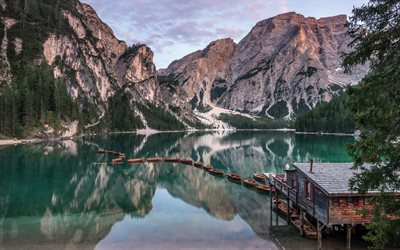 Lake Braies, Pragser Wildsee, Dolomites, evening, sunset, mountain lake, mountain landscape, Trentino-Alto Adige, Italy, Lake Prags, South Tyrol