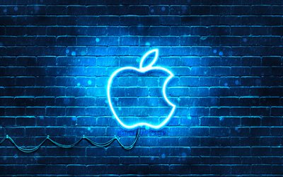 Apple logo bleu, 4k, bleu brickwall, bleu neon apple, le logo, les marques, Apple néon logo Apple