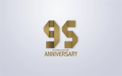 95th Anniversary, Anniversary golden origami Background, creative art, 95 Years Anniversary, gold origami letters, 95th Anniversary sign, Anniversary Background