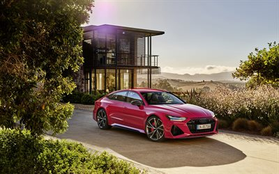 Audi RS7 Sportback, 2020, red sports coupe, 4 door coupe, new red RS7 Sportback, exterior, German cars, Audi