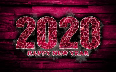 2020 purple fiery digits, 4k, Happy New Year 2020, purple wooden background, 2020 fire art, 2020 concepts, 2020 year digits, 2020 on purple background, New Year 2020