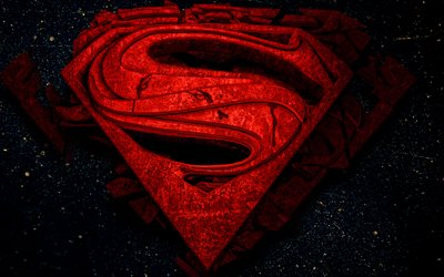 Superman 3D logo, 4k, superheroes, Superman, 3D art, darkness, Superman logo