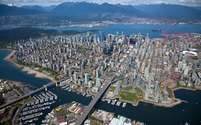Vancouver, seaport city, top view, Vancouver aerial view, skyscrapers, British Columbia, Canada