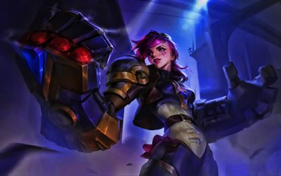 VI, darkness, MOBA, female warrior, League of Legends, artwork, VI League of Legends