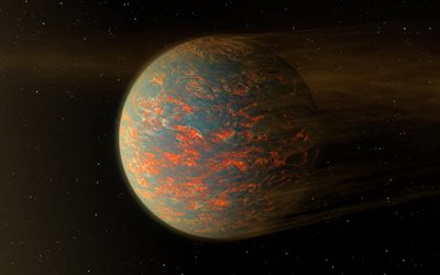 flying fire planet, 3D planet, lava planet, galaxy, fire planet, space, artwork, planets