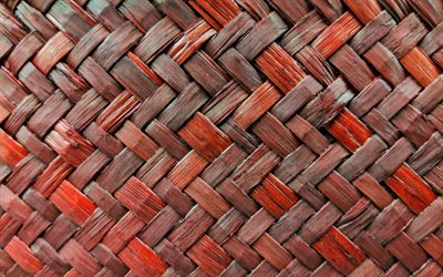 wooden weaving texture, brown wickerwork background, 4k, wickerwork, wooden backgrounds, macro, wooden textures, brown background, brown wood