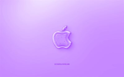 Download Wallpapers Apple 3d Logo Purple Background Purple Apple Jelly Logo Apple Emblem Creative 3d Art Apple For Desktop Free Pictures For Desktop Free
