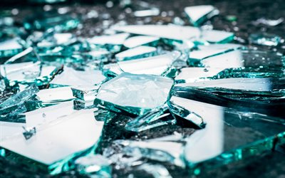 shards of glass, 4k, glass splinters, broken glass, blue glass, broken glass textures, glass textures, glass