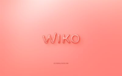 Wiko 3D logo, Red background, Wiko jelly logo, Wiko emblem, creative 3D art, Wiko