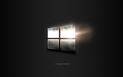 Windows 10 Metal logo, black lines background, black carbon background, Windows 10 logo, emblem, metal art, Windows