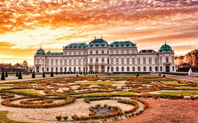 Belvedere, Vienna, palace complex, evening, sunset, Vienna landmark, Baroque palaces, Austria