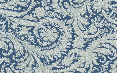 blue fabric texture with ornaments, blue ornament background, fabric texture, retro ornament texture
