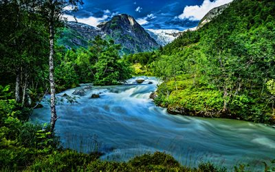 Norway, beautiful nature, HDR, mountain river, forest, mountains, summer, Europe, norwegian nature