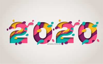 2020 abstract background, Happy New Year 2020, 2020 mosaic background, 2020 concepts, 2020 New Year, 2020 Abstraction