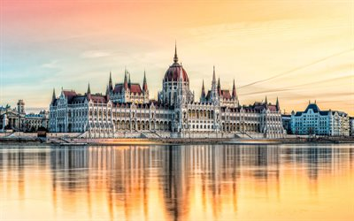 Budapest, Hungarian Parliament Building, evening, sunset, Danube river, Hungary, Budapest landmark, Parliament of Budapest, National Assembly of Hungary