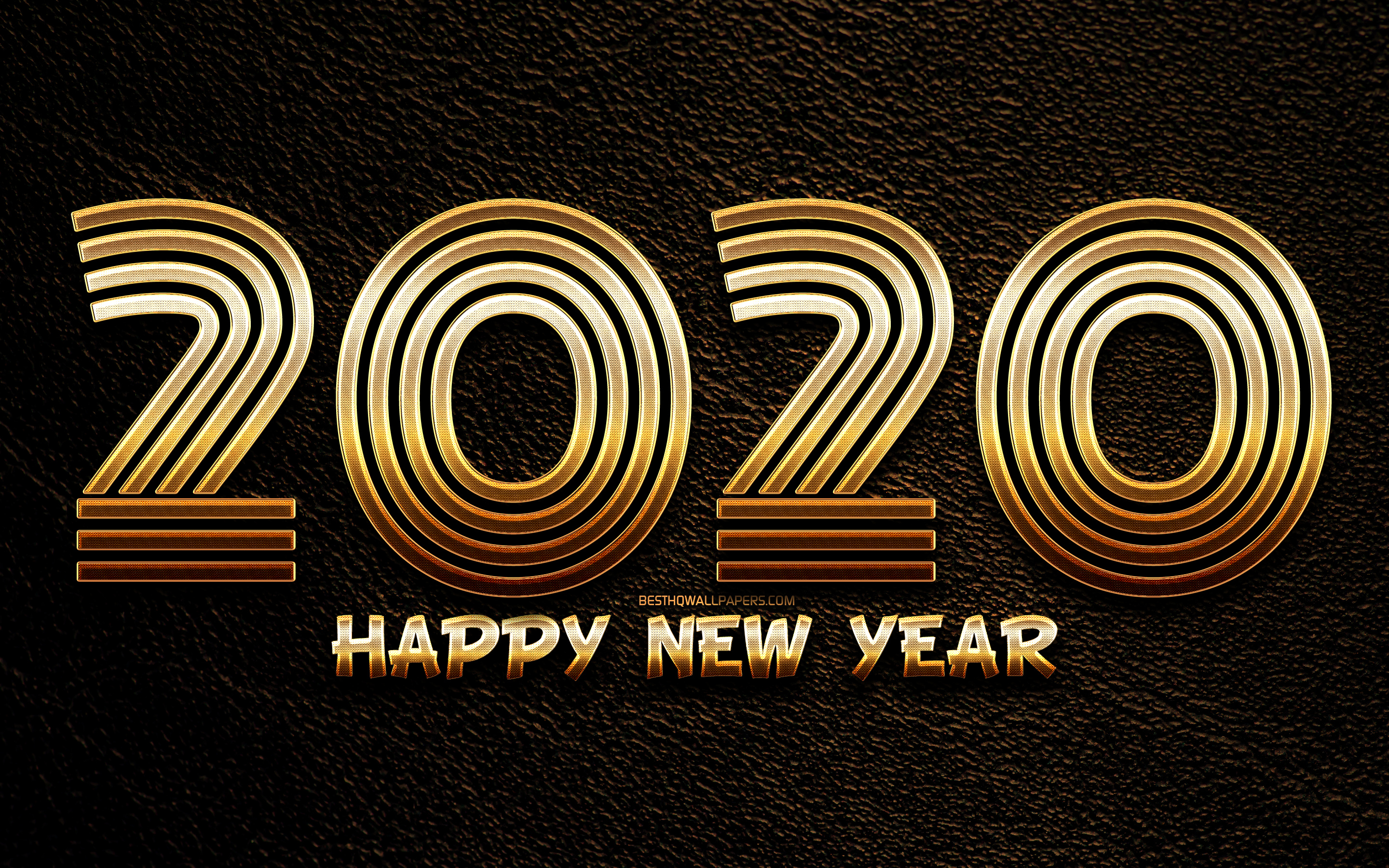 Happy New Year 2020, brown leather background, creative, 2020 golden linear digits, 2020 metal art, 2020 concepts, golden linear digits, 2020 on leather background, 2020 year digits