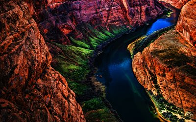 4k, Grand Canyon National Park, beautiful nature, river, HDR, american landmarks, Colorado, green slopes, America, USA, Arizona, valley, canyon
