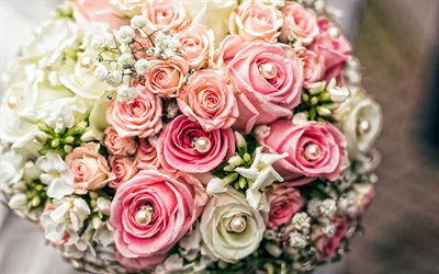 wedding bouquet of roses, bridal bouquet, beautiful flowers, roses, bride with a bouquet, wedding concepts